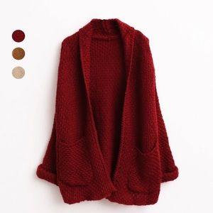 Sweaters - Burgundy sweater cardigan