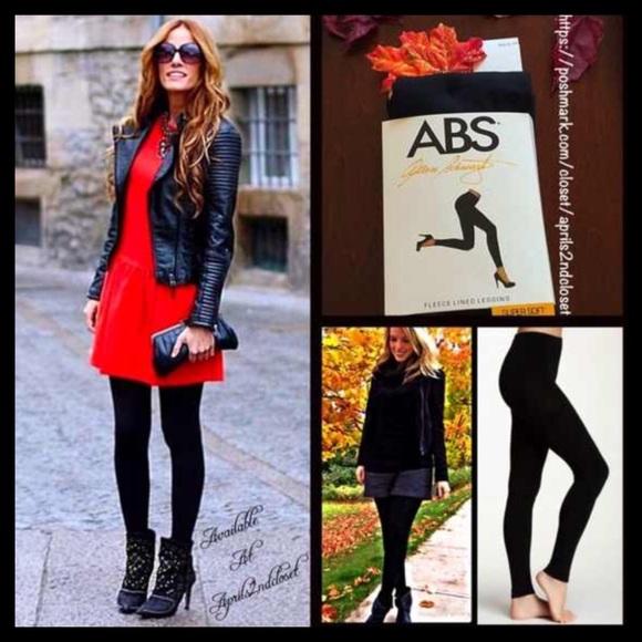 56621a93c60c48 ABS Allen Schwartz Pants   Abs Black Fleece Lined Leggingsfootless ...