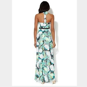 New York Company Dresses Nyco Green Floral Halter Maxi Dress
