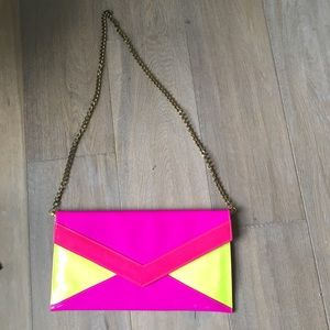 Neon Paten leather over sized envelope clutch