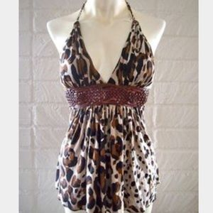 Sky brand leopard tank top leather belted