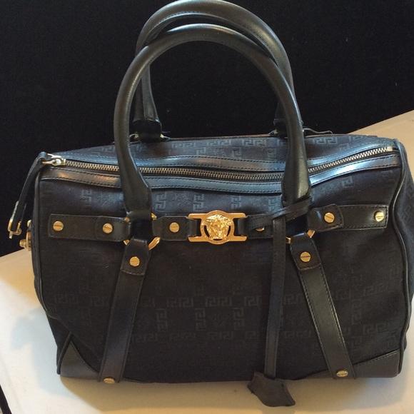 Versace Black bag with logo sLyFuE