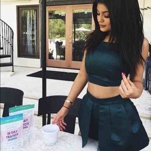 Nasty Gal Dresses & Skirts - Nasty Gal Green Satin Skort Set XXS (Kylie Jenner)