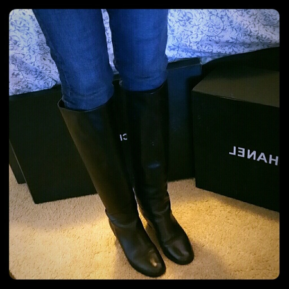 chanel knee high boots. chanel shoes - chanel leather knee high riding boots