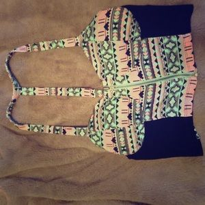 Aztec print Crop top with zipper