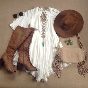 Laced up Crochet Boho Romper