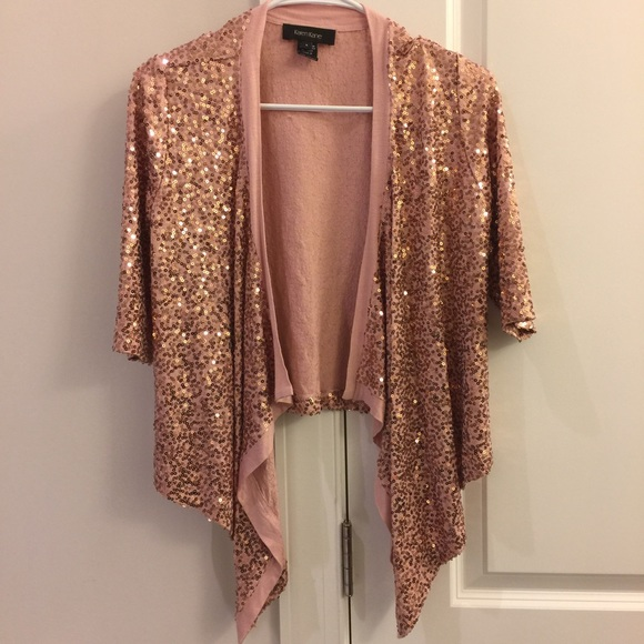 88% off Karen Kane Sweaters - Rose Gold Sequin Cardigan from ...