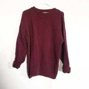 Burgundy Over- Sized Chunky Knit Sweater