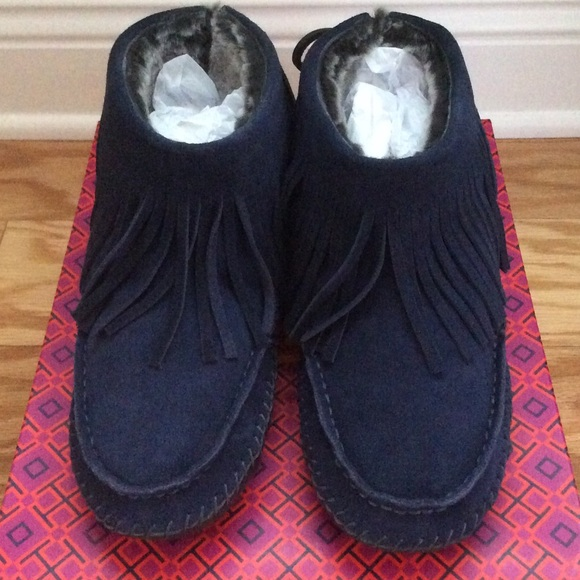 0f49aff5cf6 Tory Burch Collins Fringe Moccasin Bootie