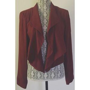 Topshop maroon cropped blazer