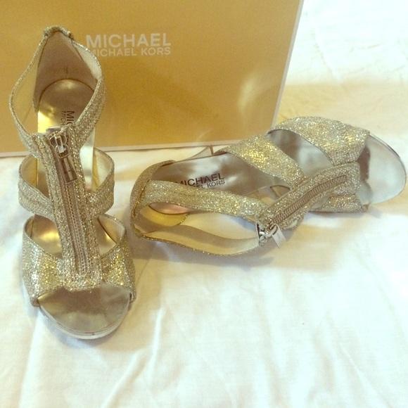 michael kors silver glitter shoes