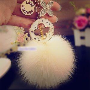 Fur ball Bag Charm/ key chain.