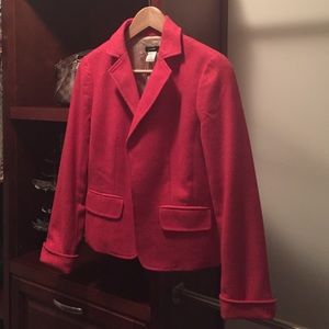 Jcrew dark pink tweed coat