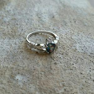 Jewelry - New rainbow topaz sterling silver Irish Claddagh