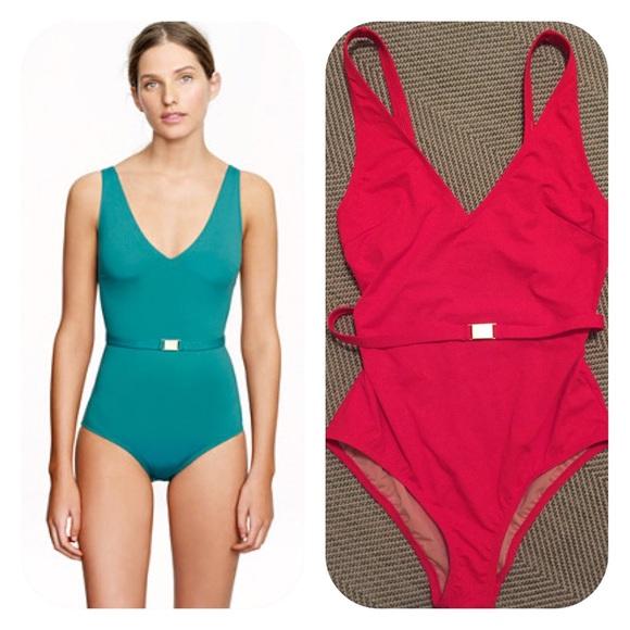 e0b2e492c1687 J. Crew Swim | Jcrew Italian Matte Belted Suit Red 8 Nwt | Poshmark