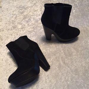 Platform Black Heeled Booties