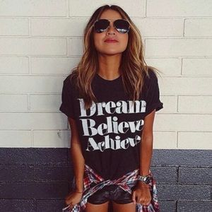 Tops - RESTOCKING! Dream believe graphic tee black white