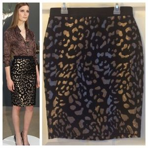 Ann Taylor Gold Jacquard Pencil Skirt,  0P
