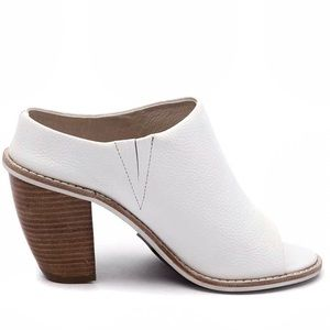 Sol Sana White Leather Mule Heels