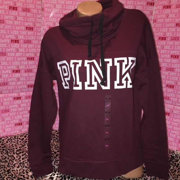 PINK Victoria's Secret - NWT VS PINK Cowl Neck Burgundy Hoodie ...