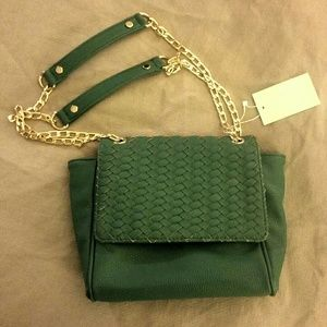Deux Lux Gold Chain Kelly Green Crossbody Handbag