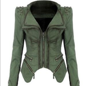 Jackets & Blazers - Olive green studded jacket