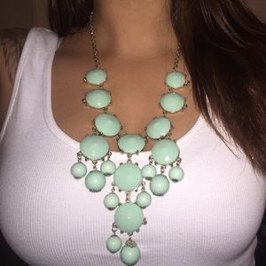 Faux gemstone statement necklace.