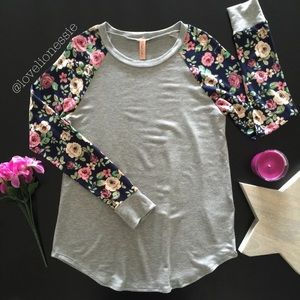 French Terry Grey Floral Long Sleeved Knit Top