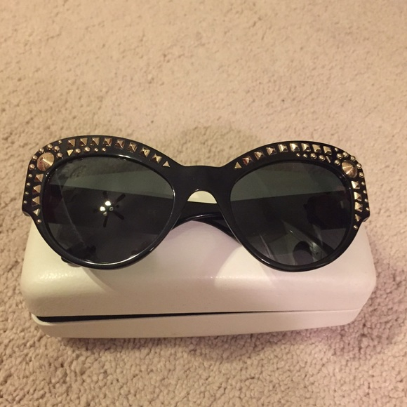 Versace Accessories - Versace Black Gold Studded Sunglasses BNWT