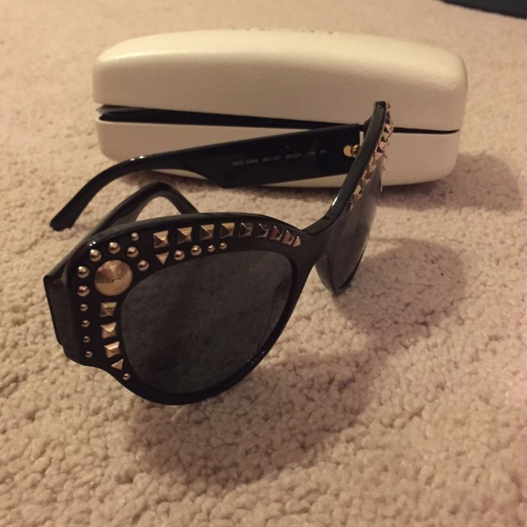 Versace Accessories - Versace Black Gold Studded Sunglasses BNWT