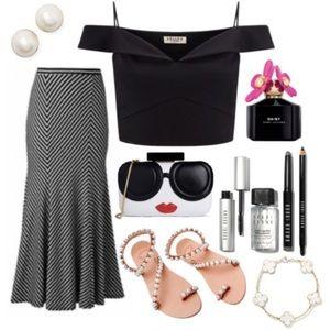 Black & white striped maxi skirt, XS-S