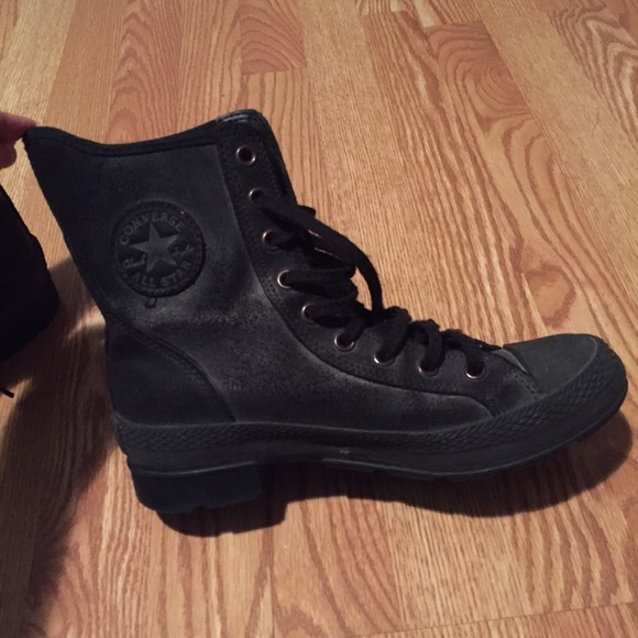 all black leather boots converse