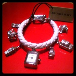 Burberry Sterling Silver Charm Bracelet Watch