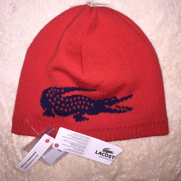 76ad794e6d8 Lacoste Reversible Skull Cap Beanie NEW w TAG