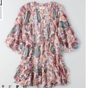 New American Eagle Ruffle Patterned Kimono XS/S