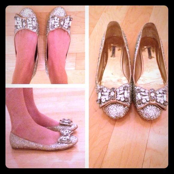 bfd1b119587 Miu Miu Glitter Bow Ballerina Flats. M 565576c26ba9e6d6e400486e