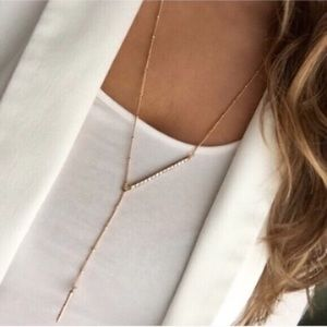 Gold pavé bar necklace