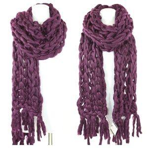 Boutique Accessories - Handmade Aubergine Heavy Knit Sweater Yarn Scarf
