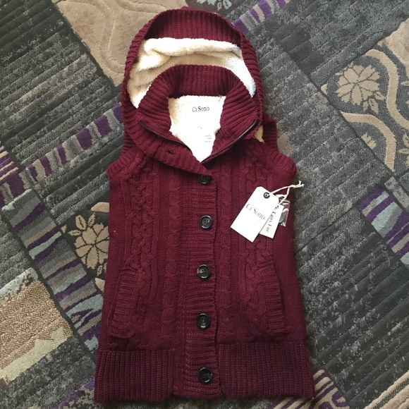 34% off Ci Sono Jackets & Blazers - Hooded Button Up Sweater Vest ...