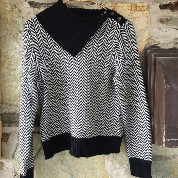 Michael Michael Kors b&w cowl neck chevron sweater