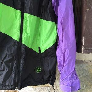 Volcom Jackets & Coats - Volcom purple, green black windbreaker jacket hood