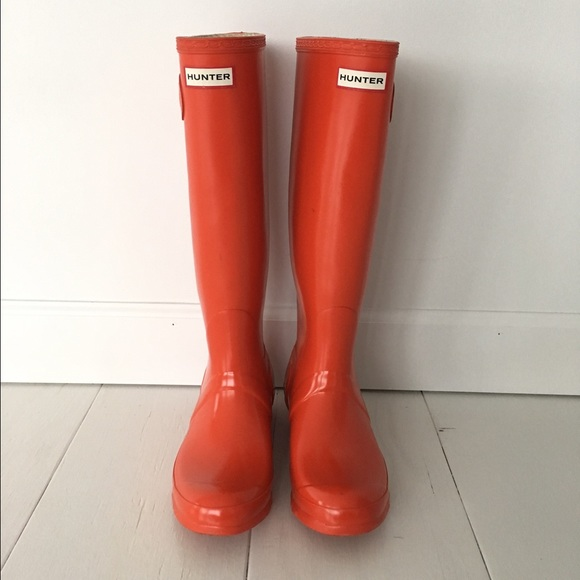 f40b6e0e4a1fb Hunter Shoes - Hunter Boots Original Tall Gloss Size 8 Red Orange
