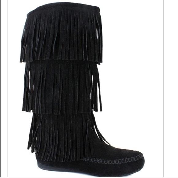 50% off Hotcakes Shoes - Hotcakes Black fringe boots Sz 8.5 wide ...