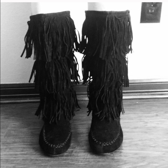 50% off Hotcakes Shoes - Hotcakes Black fringe boots Sz 8.5 wide ...
