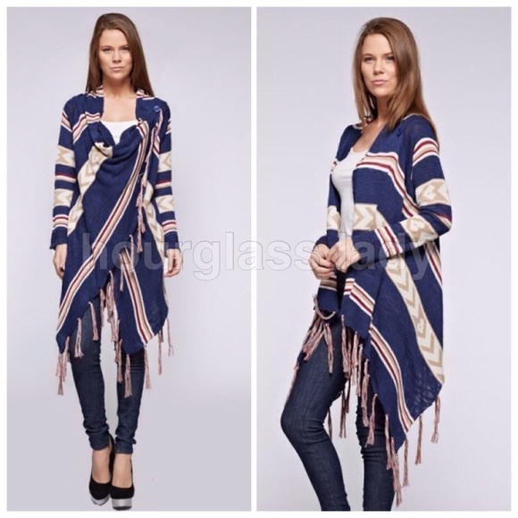 62% off Hourglass Lady Sweaters - 🎁Boho Aztec Fringe Wrap Button ...