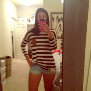 Tops - Navy and White striped tunic