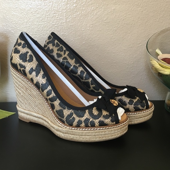 824543a69e86 Tory Burch Shoes | Bnwb Jackie Espadrille Leopard Wedges | Poshmark