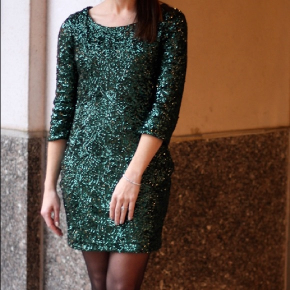 Perfect Christmas Party Dress: Green Sequin Dress Perfect Holiday Party