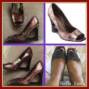 Shoes - 👠👀 Rose Bronze Peep Toe High Heel Shoes Sz 5.5