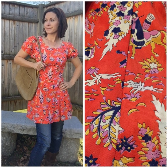 9c9a7c408 Vintage Asian Novelty Print Dress. M_56560fd8afcd0eed51007098